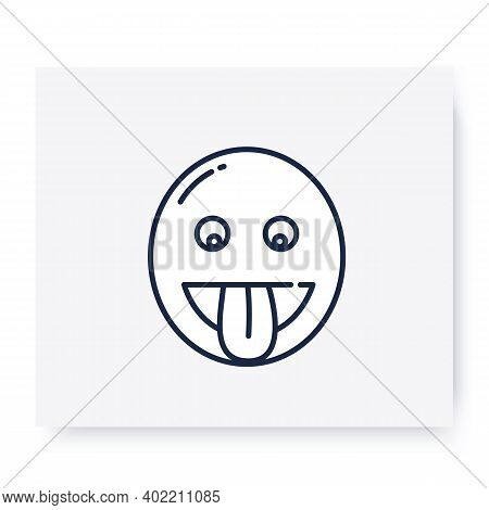 Face With Tongue Line Icon. Grinning Face Sticking Out Its Tongue, Playful Emoticon. Facial Expressi