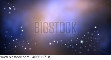Galaxy Night Sky. Colorful  Night Sky With Shiny Star Dust And Nebula.  Blue Clouds And Sunset, Abst