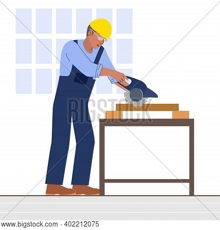 A Worker Cuts Wood With A Hand-held Circular Saw. A Man In Blue Overalls And A Yellow Hard Hat In A