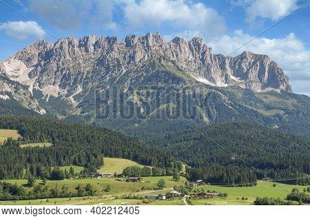 View From Ellmau To Kaisergebirge Mountain In Tirol,austria