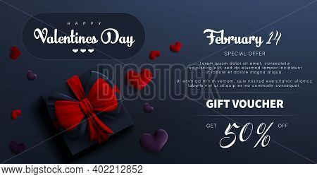 Valentine Day Sale Banner Background. Red Hearts. Cute Love Banner Or Valentines Greeting Card. Gift
