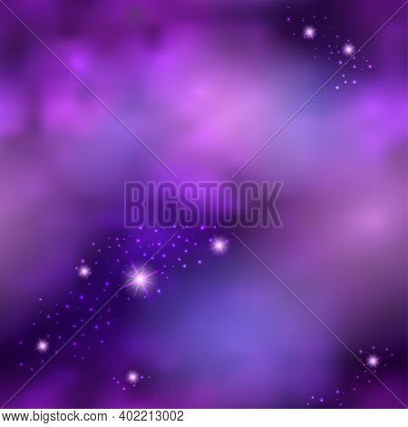 Magic Galaxy Space With Shiny Nebula  Star Dust. Purple Mysterious Night Sky, Light Flare And Cloudy