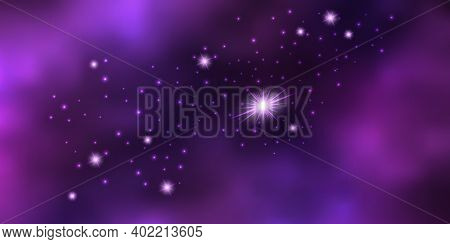 Purple Galaxy Space Background With Shiny Stars And Cosmic Nebula. Vector Illustration