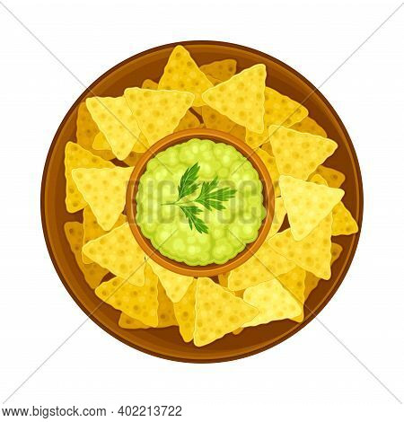 Crunchy Nachos With Guacamole Sauce On Plate As Traditional Mexican Dish Vector Illustration