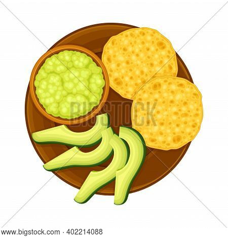 Wheat Tortilla With Avocado And Guacamole Sauce On Plate As Traditional Mexican Dish Vector Illustra