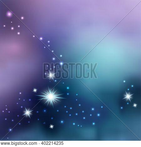 Night Sky With Shiny Stars. Galaxy Space Background, Nebula Stardust. Cosmic Universe. Vector Illust