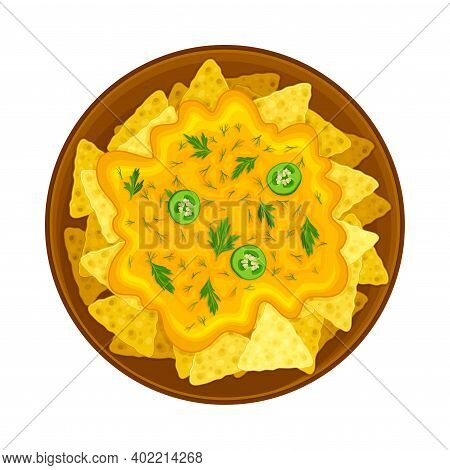 Crunchy Nachos With Cheese Sauce And Herbs On Plate As Traditional Mexican Dish Vector Illustration