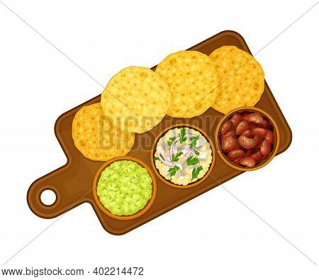 Corn Tortilla With Guacamole Sauce And Cooked Beans On Plate As Traditional Mexican Dish Vector Illu