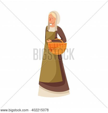 Young Medieval Female Peasant Carrying Wicker Basket Vector Illustration