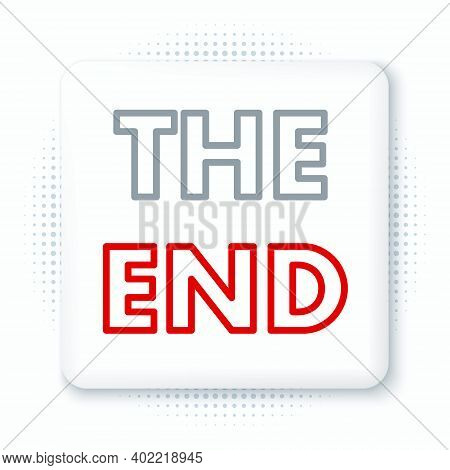Line The End Handwritten Inscription Icon Isolated On White Background. Closing Movie Frame. Movie E