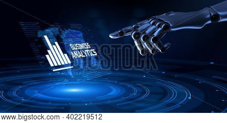 Business Analytics Bi Intelligence Concept. Robotic Hand Pressing Button 3d Render.