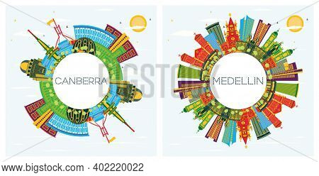 Medellin Colombia and Canberra Australia City Skyline Set with Color Buildings, Blue Sky and Copy Space. Cityscape with Landmarks.