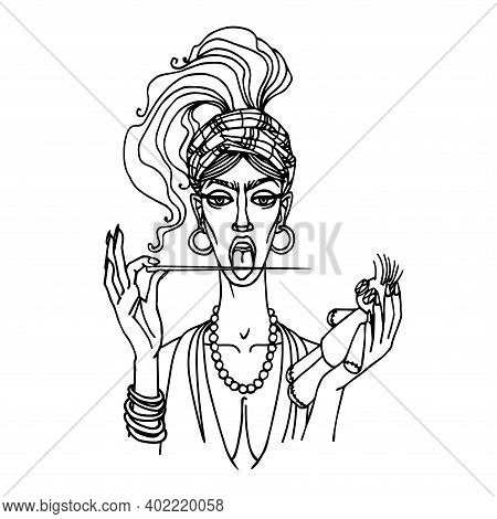 Sexy Gypsy Woman With Open Mouth Licking Long Pin For Voodoo Ritual, Vamp-female Concept, Dangerous