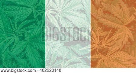 Medical Cannabis In The Ireland. Leaf Of Cannabis Marijuana On The Flag Of Ireland. Weed Decriminali