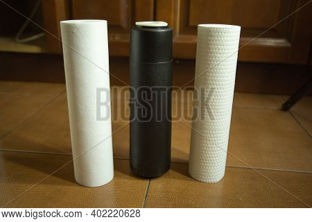 Changing Filters In Your Home Water Purification System. The Filters Of The Three Degrees Of Cleanin