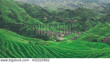 Longji Rice Terrace In Guilin  And Traditional Village In China