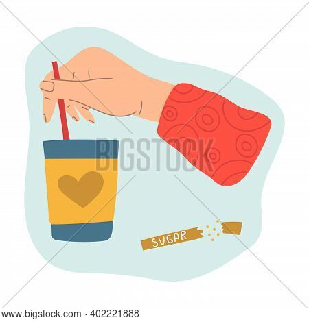 Hand Stirs Sugar In A Paper Cup Of Tea Or Coffee. Modern Flat Illustration.