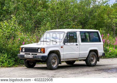 Kirovsk, Russia - August 18, 2020: Compact Offroad Car Isuzu Trooper In The City Street.