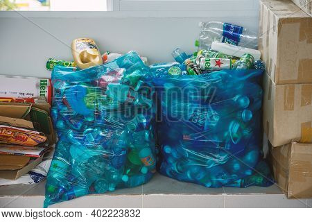 Different Types Of Waste Are Sorted For Recycling.  Sorting Household Garbage - Paper, Metal, Plasti