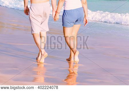 Couple Holding Hands Is Walking Along The Sandy Sea Beach. Back Bottom View