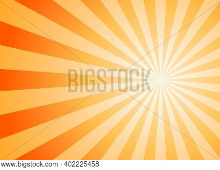 Sunlight Abstract Background. Orange And Gold Color Burst Background. Vector Illustration. Sun Beam