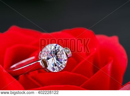 Diamond Wedding Rings On Red Roses