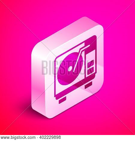 Isometric Vinyl Player With A Vinyl Disk Icon Isolated On Pink Background. Silver Square Button. Vec