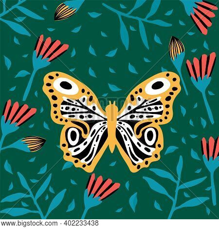 Great Butterflies In The Tropics. The Insect Pollinates The Flowers. Doodle Picture Of Soaring, Colo