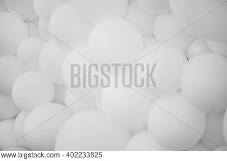 A Lot Of White Balloons, Background. Many White Balloons, Inflatable Balls, Background Of White And