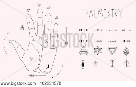 Indian Palmistry. Hand With Lines Of Energy And Planets Signs For Personal Horoscope.jyotisha Or Hin