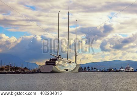 Tivat , Montenegro - December 23 2020:  Sailing Yacht A, The Largest Sailing Yacht, Arrived At Port