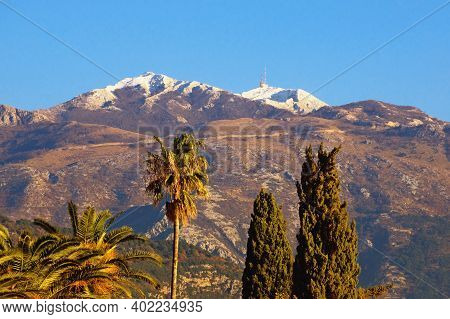 Beautiful Mediterranean Landscape On Sunny Winter Day. Montenegro, View Of Snow-capped Peaks Of Lovc
