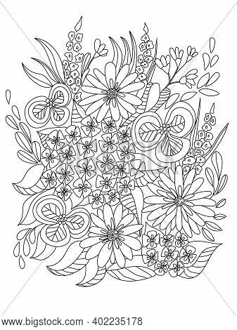 Meadow Flowers. Botanical Composition Of Plants. Vector Coloring Book Page. Antistress For Adults An