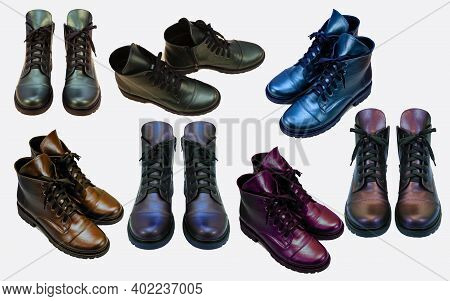 A Set Of Boots. Casual Shoes Different Colors And Angles. Shoes Isolated On White Background. Leathe