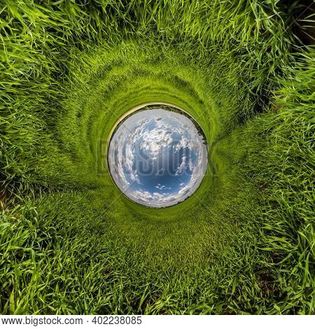 Blue Little Planet. Inversion Of Tiny Planet Transformation Of Spherical Panorama 360 Degrees. Spher