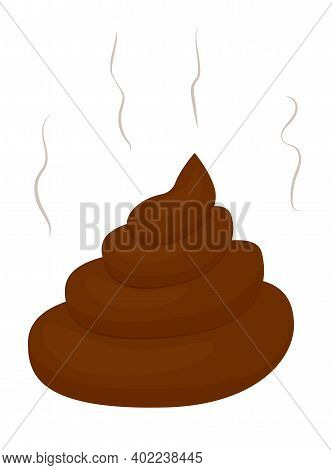 Cartoon Stinking Poo Icon. Smelling Pile Of Shit Vector Illustration Isolated On White