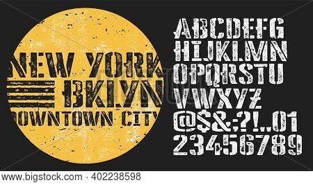 Vector Illustration On A Theme Of American Jeans, Denim And Raw. Craft Vintage Typeface Design. Typo
