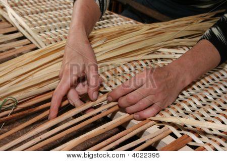Female Hands Manually Mastering Wicker Fabric 4