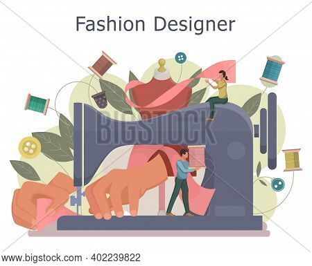 Fashion Designer Concept. Dressmaker Working On Sewing Machine. Tiny Tailor Masters Sewing Clothes A