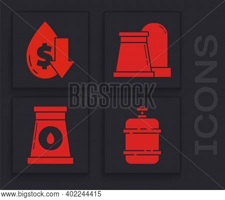 Set Propane Gas Tank, Drop In Crude Oil Price, Oil And Gas Industrial Factory Building And Oil And G