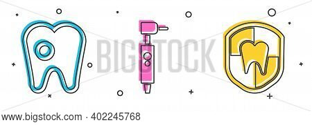 Set Tooth With Caries, Tooth Drill And Dental Protection Icon. Vector