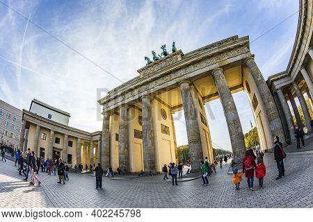 Berlin, Germany - October 27, 2014: People Visit Brandenburg Gate In Berlin, Germany. Berlin. Brande