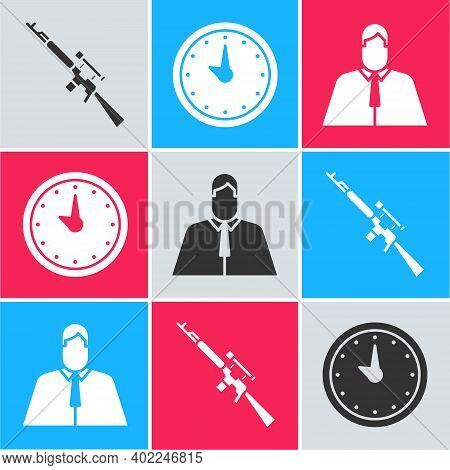 Set Sniper Rifle With Scope, Clock And Lawyer, Attorney, Jurist Icon. Vector