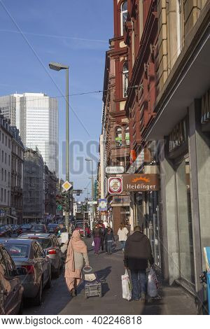 Frankfurt, Germany - March 29, 2014: Street View Of Munich Street In Frankfurt With People At Street