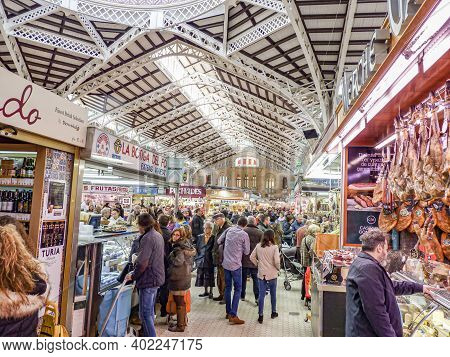 Valencia, Spain - January 28, 2017:  The Inside Of The Central Market Of Valencia, Also Known As Mer
