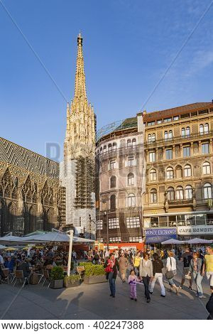 Vienna, Austria - April 22, 2009: People Visit St. Stephens Cathedral In Vienna, Austria. St, Stephe