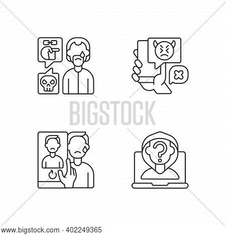 Cyberbullying And Discrimination Linear Icons Set. Racial Bullying. Anonymous Stalker, Doxing. Custo