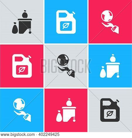 Set Full Dustbin, Bio Fuel Canister And Hands Holding Earth Globe Icon. Vector