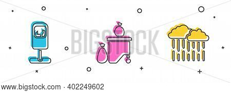 Set Trash Can, Full Dustbin And Cloud With Rain Icon. Vector