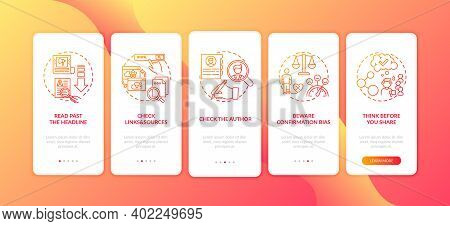 Misleading Information Checking Onboarding Mobile App Page Screen With Concepts. Checking Author And